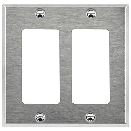 ENERLITES Decorator Light Switch/Receptacle Outlet Metal Wall Plate, Corrosive Resistant, Size 2-Gang 4.50