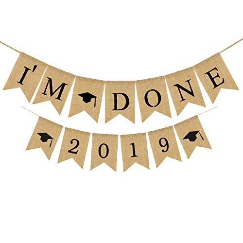 Rainlemon Jute Burlap 2019 Graduation Party I'm Done Banner Graduation Photo Booth -