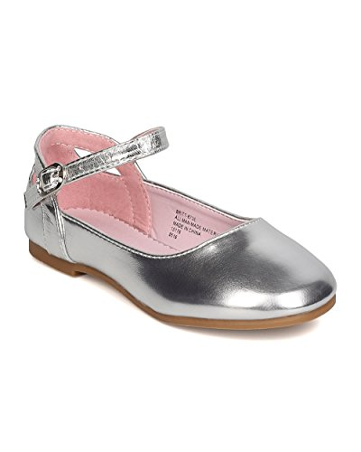 Girls Metallic Leatherette Ankle Strap Cut Out Ballet Flat GB40 - Silver (Size: Toddler 9)