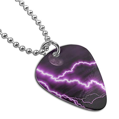 Jia Li Purple Thunder Guitar Pick Necklace Unique Custom Fashion Pet Card ()