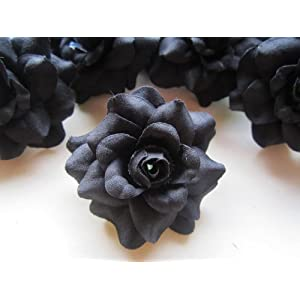 """(24) Silk Black Roses Flower Head - 1.75"""" - Artificial Flowers Heads Fabric Floral Supplies Wholesale Lot for Wedding Flowers Accessories Make Bridal Hair Clips Headbands Dress 3"""