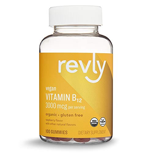 - Amazon Brand - Revly Vitamin B12, 3000 mcg B12 per Serving (2 Gummies), 100 Gummies, Vegan, Certified Organic