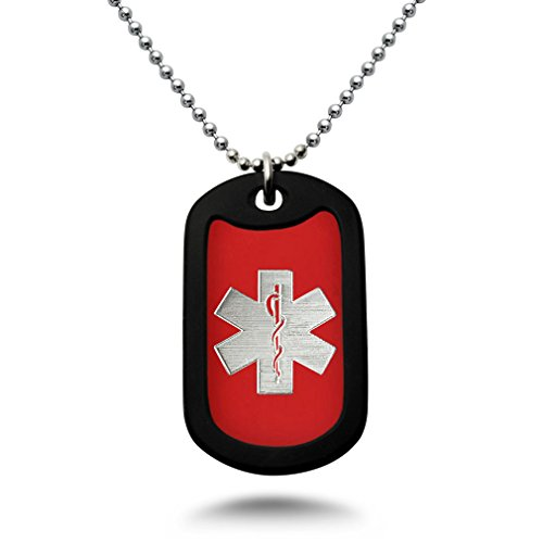 Medical Alert ID, Personalized Custom Engraved Medical Alert ID Aluminum Dog Tag Necklace with Stainless Steel Bead Chain Made in USA (Red)