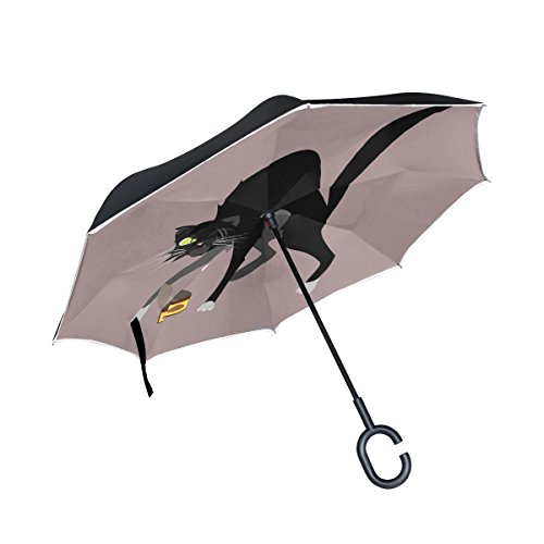 YUMOING Double Layer Inverted Cat Character Street Street Cat Thug Umbrellas Reverse Folding Umbrella Windproof Uv Protection Big Straight Umbrella For Car Rain Outdoor With C-shaped Handle -