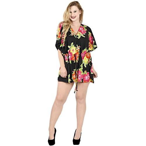 8f9267a2b  La Leela  1 desgaste dsalón hibisco suave Aloha likre corto vestido traje  baño túnica