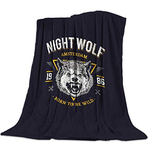 YOKOU Wildlife Decor Flannel Throw Blanket Night Wolf Born to Be Wild Printed Warm Plush Lightweight Couch Bed Blanket All Season Use, 40x50 inch
