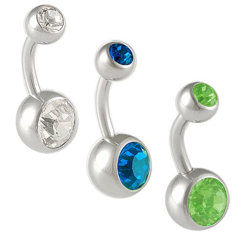 14g 14 gauge 1.6mm 5/16 8mm steel belly rings Navel button bar ball ear Crystal Peridot AYBP Jewelry 3pcs