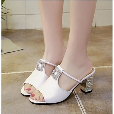 RUGAI-UE Moda de verano mujer sandalias casuales zapatos de tacones PU confort caminar al aire libre,Blanca,US5.5 / UE36 / UK3.5 / CN35 White