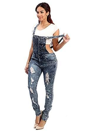 Womens Fashion Trendy Distressed Adjustable Denim Skinny Overalls Jeans Collection (X-LARGE, DARK DENIM-2575)
