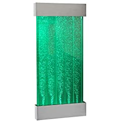 Fully self-contained - just fill with distilled water. Suitable for indoor use - enjoy your bubble wall in a range of settings. 57 cm in width - 129 cm in length. Wall fixing supplied - Suitable wall is required. APP controlled - lights chang...