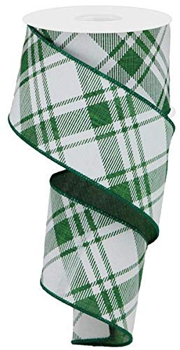 Diagonal Stripe/Check Wired Edge Ribbon - 10 Yards (Emerald Green, White, 2.5