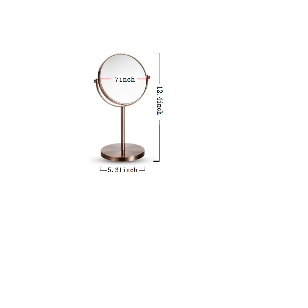 CROWNSTARQI Makeup Mirror 5-inch Tabletop Two-Sided Swivel Vanity Mirror with 5X Magnification 12.5-inch Height Extra-Large Mirror Bronze Copper Stainless Steel