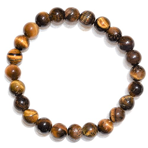 Charged Premium 7 Golden Tiger Eye 8mm Bracelet Polished Stretchy (Actualize Prosperity) by ZENERGY GEMS