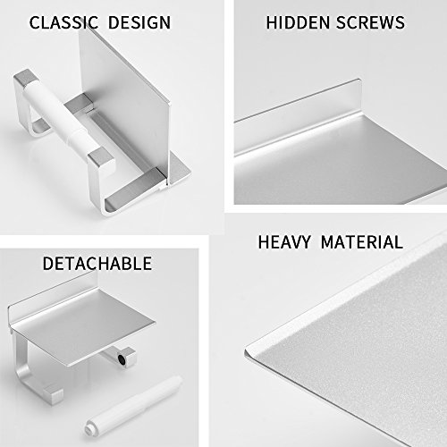 BESy Self Adhesive Pivoting Toilet Paper Holder Shelf, Bathroom Tissue Roll Hanger Mobile Phone Storage Shelf, Aluminum, Drill Free Glue Wall Mount Screws, Dull Polished Silver by BESy (Image #4)