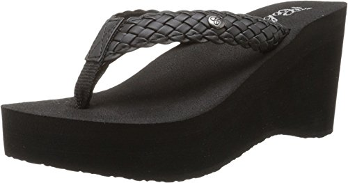 (Cobian Zoe Women's Flip Flop Wedge Sandal Black)
