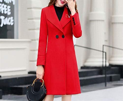 Abrigo Rojo Brillante Lujo Mujer Xqy Solapa Mediana Chaqueta Ligera Delgada Temperamento Edad Lana De Cintura Abrigo Lana Invierno OxqYERwTqa