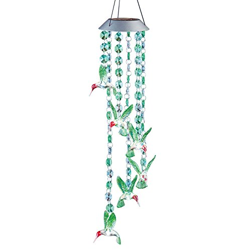 Collections Etc Solar Powered Hummingbird Hanging Decoration, (Hummingbird Collection 1 Light)