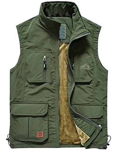 Jenkoon Men's Casual Lightweight Outdoor Travel Fishing Hunting Vest Jacket with Pockets (Olive Green-04, X-Large)