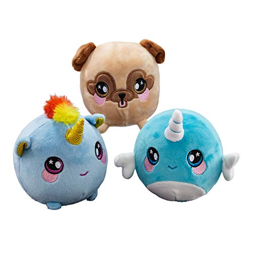 Squeezamals (Nadia Narwhal, Beatrice Unicorn, Bryce Pug - 3.5 Super-Squishy Foamed Stuffed Animal! Squeezable, Cute, Soft, Adorable! Toy (3 Pack)