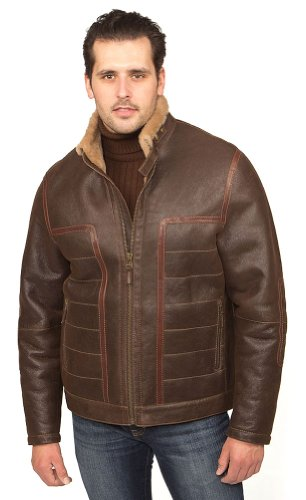 Aston Leather Men's Broadway Shearling Coat Rugged Castano XXX-Large