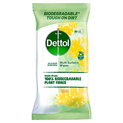 Dettol Wipes Biodegradable Citrus Antibacterial Multi Surface Cleaning, 80 Wipes