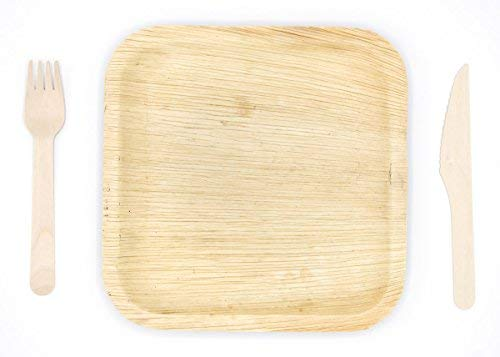 Eco-Friendly Disposable Dinnerware Set of 150 Party Supplies: Large 10″ Palm Leaf Plates (50), Wooden Forks(50) & Knives (50) – Natural, Compostable (Square)