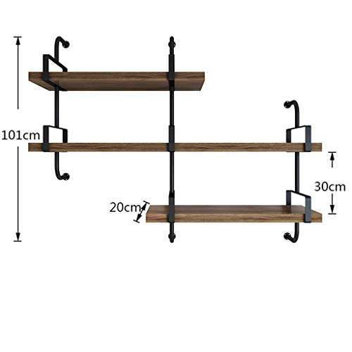 - CCF Wall Shelf Floating Shelf Iron Wall Hanging Rack 3 Layers Solid Wood Slotted Black Decoration Display Stand Home Office V (Size : B)