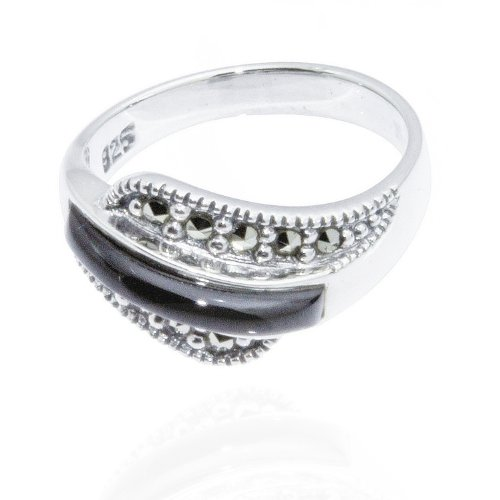Chuvora 925 Oxidized Sterling Silver Marcasite Black Onyx Overlay Wave Ring Size ()