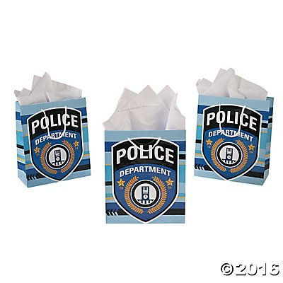 Pack of 12 - Police Party Medium Gift Bags - Party Loot -