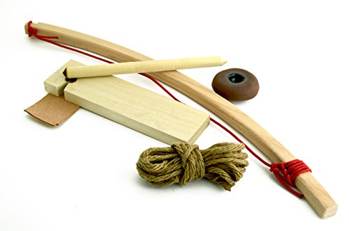 Primitive Fire Bow Drill Fire Starter Kit 7 Piece Set Outdoor Activity Training Natural Wooden Friction Educational Learning Spindles Fire-boards and Jute