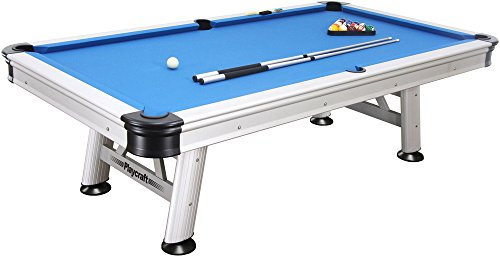 Playcraft Extera Outdoor Pool Table with Playing Equipment, Silver - 8-Feet