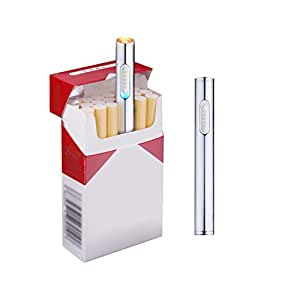 Usb Mini Lighters Electronic Rechargeable Windproof Flameless Cigarette Plasma Lighter (Silver)