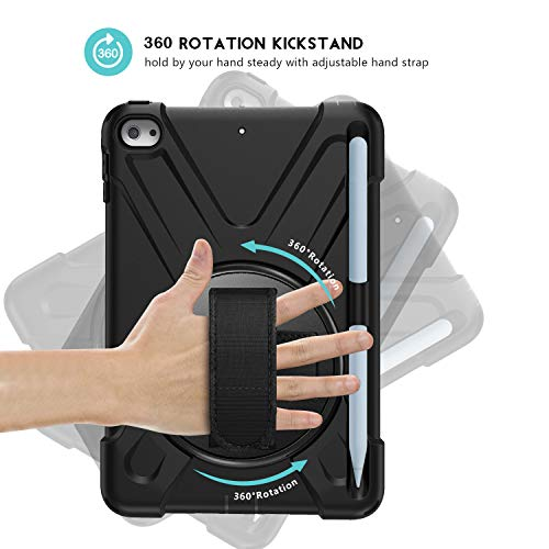 ProCase iPad Mini 5 2019/Mini 4 Case, Cover with Strap Shoulder for Kids, Heavy Duty Shockproof Rugged Cover with Pencil Holder for Mini 5 –Black