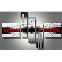 Wieco Art 5-Piece Perfect White Lines Stretched and Framed Modern Canvas Wall Art Hand-Painted Modern Abstract Oil Paintings on Canvas 5pcs/set