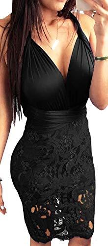 (sexycherry Women Boho Bodycon Sexy Lace Floral Halter Strap Deep V Neck Evening Club Mini Tassel Dress)