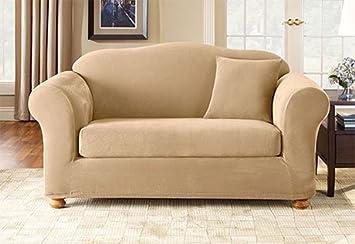 Stretch Pique Separate Seat Sofa Slipcover (Box Cushion) Fabric: Cream