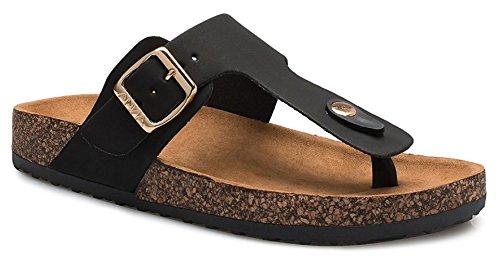 ShoBeautiful Women's Slide Sandal Thong Slip On Flip Flop Toe Loop Cork Buckle Faux Leather Beach Casual Platform Flat Shoes GR200 Black 9 (Buckle Thong Sandal)