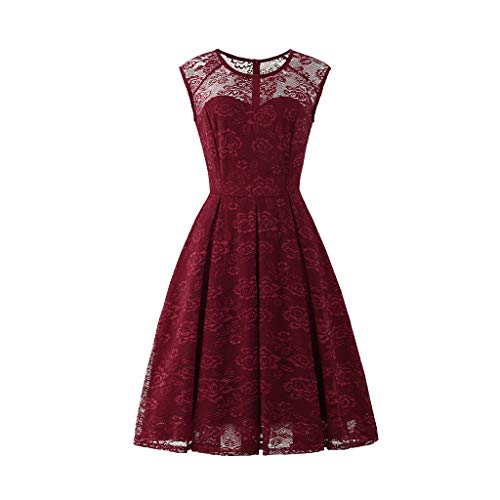 YEZIJIN Women's Sleeveless Floral Lace Solid Vintage Country