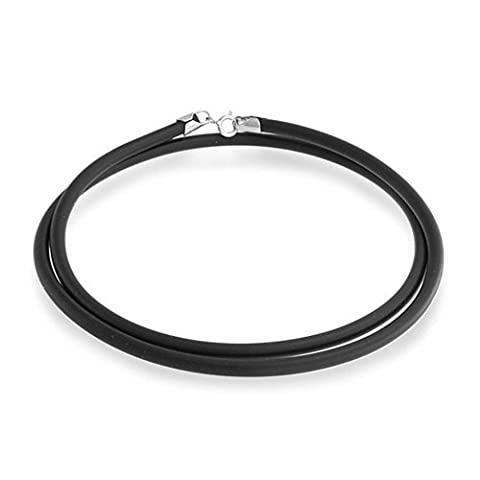 Bling Jewelry Black Rubber Cord Necklace with Silver Plated (Cavo In Gomma Collana)