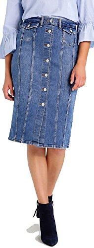 Seamed Denim Skirt - 1