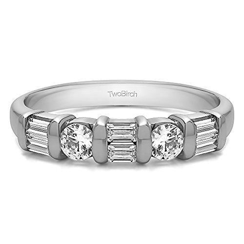 TwoBirch 1Ct Baguette and Round Bar Set Wedding ring in Sterling Silver CZ(Size 3 to 15 in 1/4 Size Intervals)