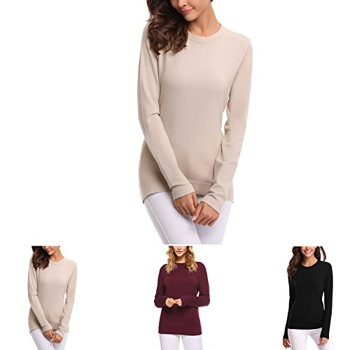 Femme Chic Longues Col Pull sous Manches Pull Tops Rond Femme Pull Winter Basique Pull Abricot Femme Femme Femme Automne Confort SdUqwS