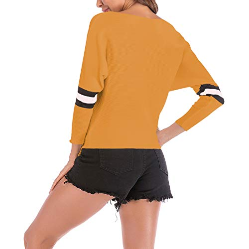 Colore Lunga Vestibilità Donna Giacca Slim Giallo Breve Manica Huicai Maglione Splicing Paragrafo Pullover oCBedx