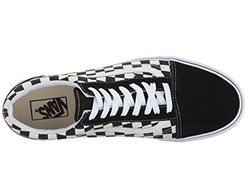 Black Vans Skool Top Old Checkered Primary White Unisex Trainers Low Adults' K46FzUK1P