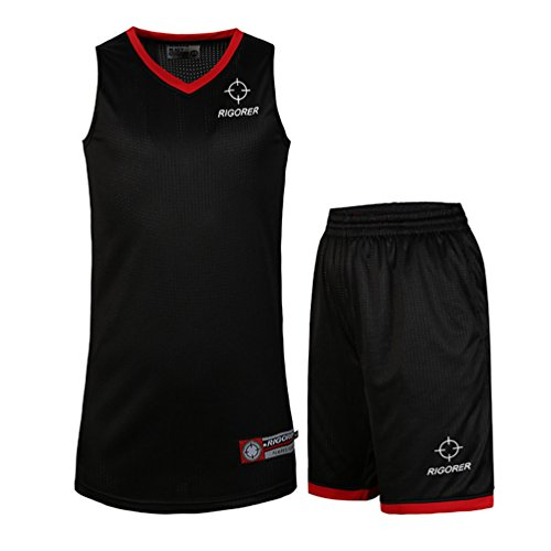 Rigorer Basketball Uniform Jersey and Shorts Trainning Tank Top Set Black/Red Size 4XL
