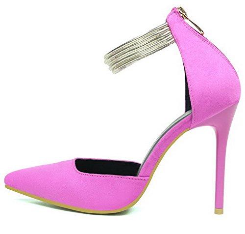 Aalardom Teenagers Teen-teen Geïmiteerd Suède Solide Spikes-stilettos Pumps-schoenen Rosered