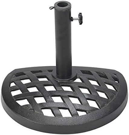 Trademark Innovations UMBSE-HF-HSHBL Cast Iron Half Umbrella Base-17.7 Inch Diameter, Black