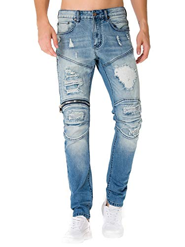 HONTOUTE Men's Ripped Distressed Destroyed Slim Skinny Stretch Biker Denim Jeans Blue 30W-32L