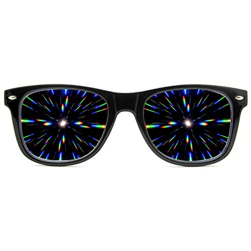 GloFX Ultimate Diffraction Glasses - Black - 3D Prism Effect EDM Rainbow,Black, -