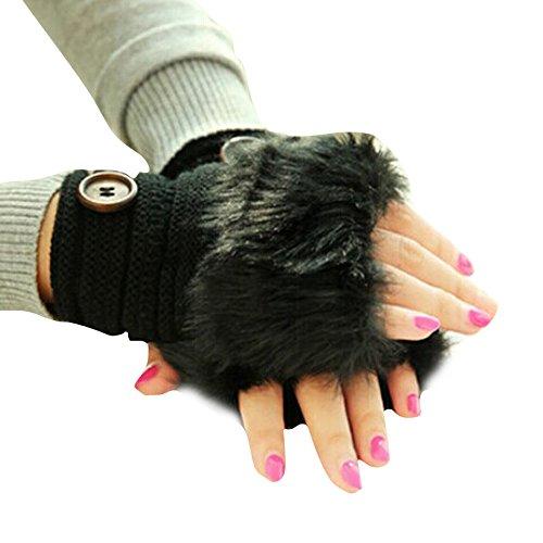 TAORE Women Warm Winter Faux Rabbit Fur Mittens Wrist Fingerless Gloves